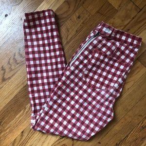 "Madewell Gingham 9"" Rise Skinny Skinny Crop Pants"